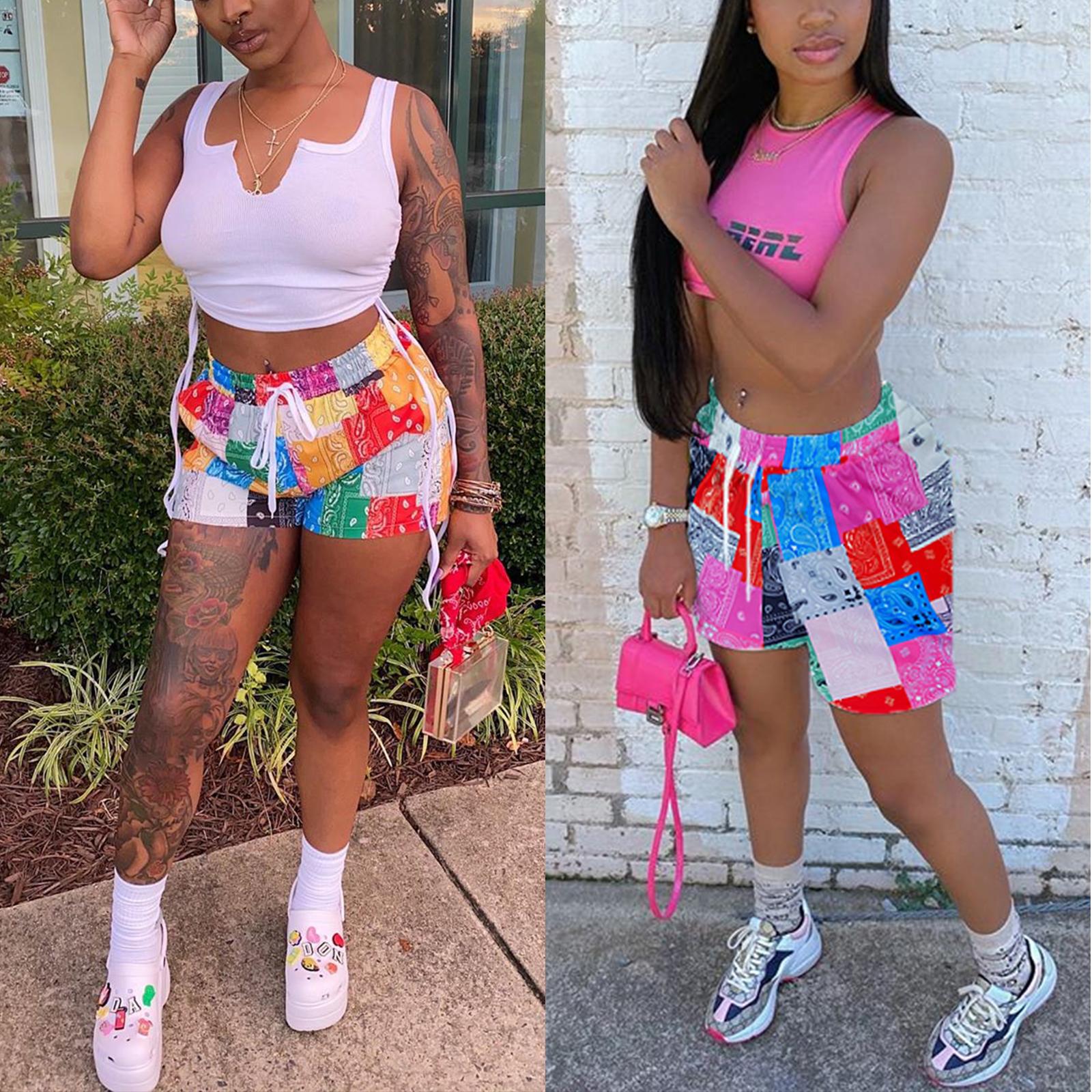 2021 NEW Bandana Women Fashion Print Shorts Summer Beach Loose Drawstring Waist Shorts Casual Midi Waist Patchwork Short Pants