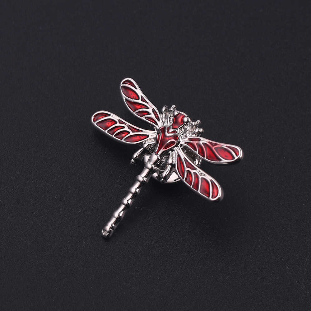 สีแดง Bragonfly Brooches ผู้ชายและผู้หญิงโลหะแมลงจัดเลี้ยงงานแต่งงานของขวัญเข็มกลัด