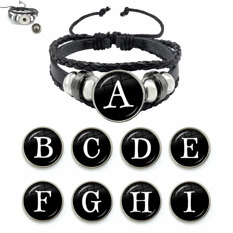26 手紙ブレスレット人格チーム名ロープブレスレットブラックボタン革ガラスブレスレット男性女性ファッションアクセサリーギフト