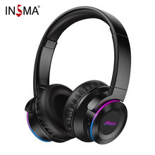 LED Over-Head Wireless bluetooth Headphones Touch Control Headset Music Bass 50 Hours with Mic TF Card 1000mAh(China)