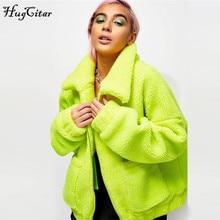 Hugcitar 2019 long sleeve zip-up Faux lambswool baggy loose coat jacket autumn winter women warm windbreakers outfits faux suede design zip up jacket