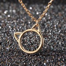 Trendy Simple Cat Ear Pendants Gold Silver Metal Long Chain Necklace For Women Cute Kawaii Animal Jewelry For Collar(China)
