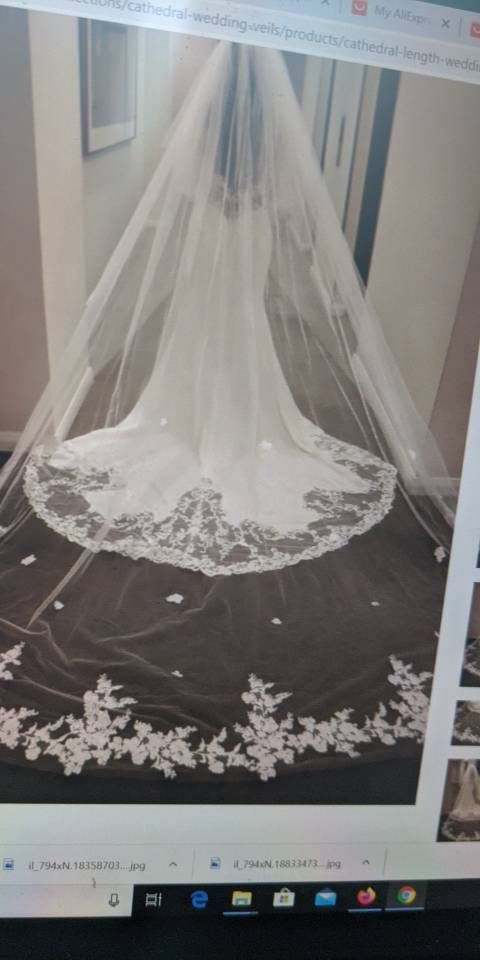 White/Ivory Wedding Veil Real Photos 2015 Gorgeous 3M With Comb Lace Beaded Bridal Veil Wedding Accessories Veu De Noiva MD59