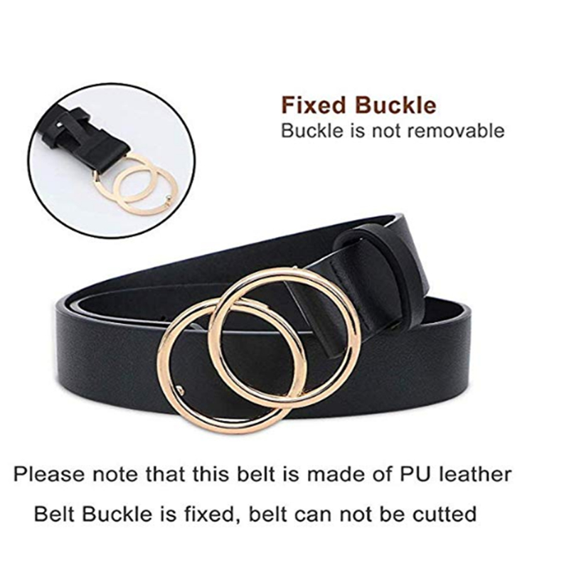 Women's Leather   Belt   for Jeans Dresses Fashion Waist   Belt   with Gold Double Ring Buckle Korean Vintage   Belt