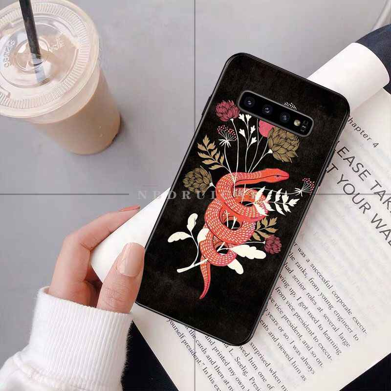 NBDRUICAI יד כף נחש פרח נחש ציור טלפון מקרה עבור סמסונג S9 בתוספת S5 S6 קצה בתוספת S7 קצה S8 בתוספת S10 E S10 בתוספת