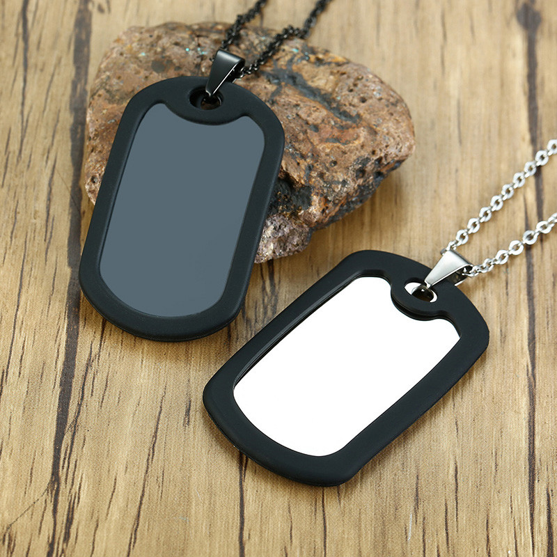 Modyle 2020 New Punk Dog Tags Pendant Necklaces Men Jewelry Gifts Stainless Steel Long Chain Military Army Style