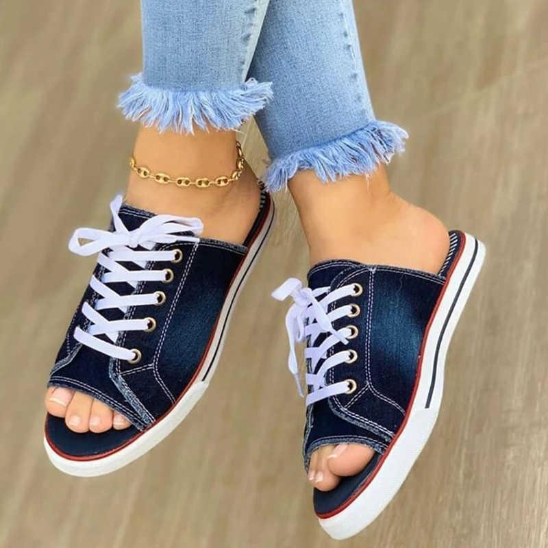 Wanita Kanvas 2020 Sandal Wanita Renda Wanita Peep Toe Flat Baru Wanita Kasual Fashion Wanita Denim Pantai Sepatu ukuran 35-43