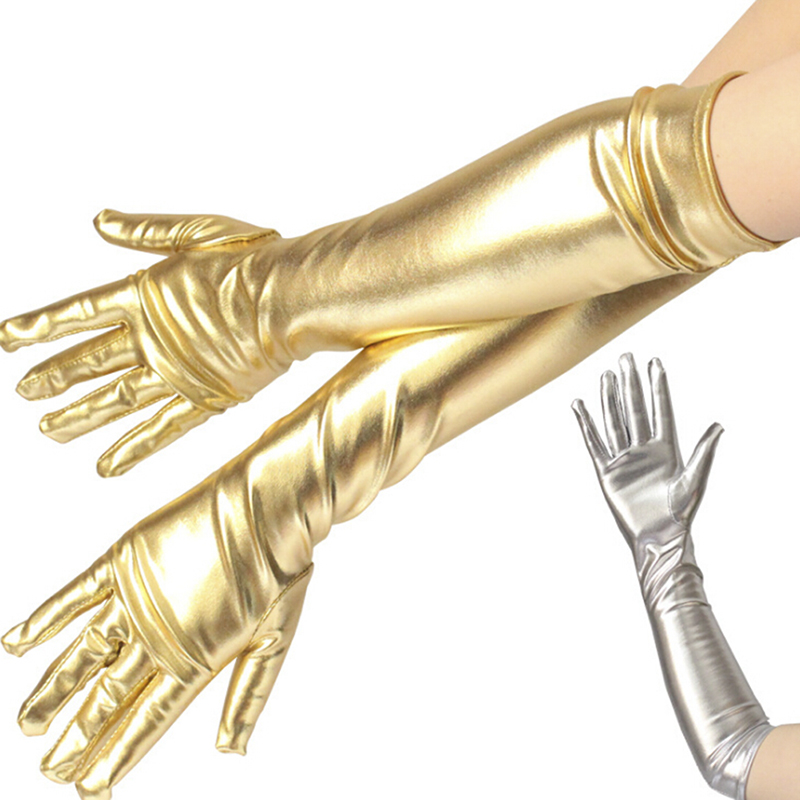 Gold Color Wet Look Fake Leather Metallic Gloves Evening Party Performance Mittens Women Sexy Elbow Length Long Latex Gloves