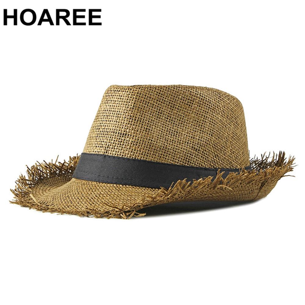 HOAREE Beach Hat Men Summer Panama Cap Casual Trilby Fedora Hat Male Straw Hat UV Protection Wide Brim Sombrero