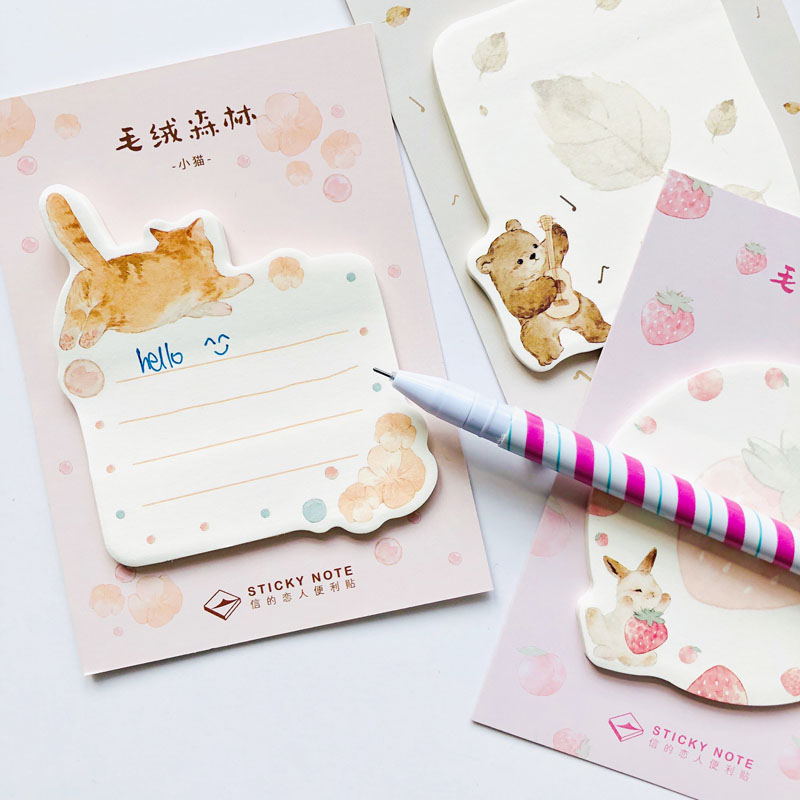30 Pages Cute Stuffed Animal Cat Dog Bear Rabbit Sticky Note Memo Pad Stationery