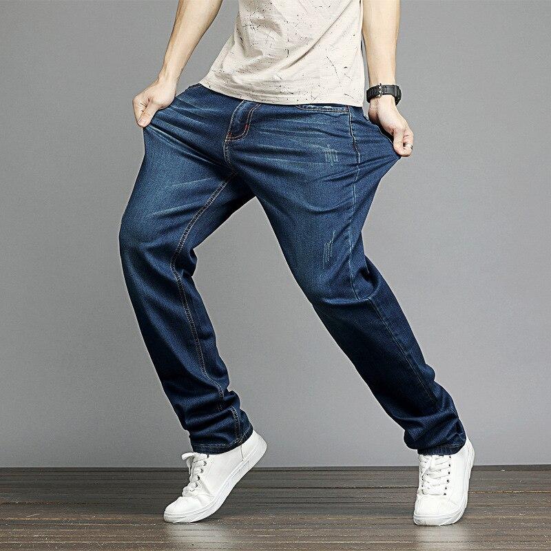 Men's Large Size Jeans Men's Elasticity Loose-Fit Frayed Straight-Cut Plus-sized Cowboy Trousers Men's