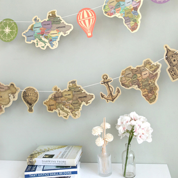 9 Sheets/lot Creative World Map Vintage Colorful Flag Map Home Decoration Wall Stickers Colorful Decorative Map