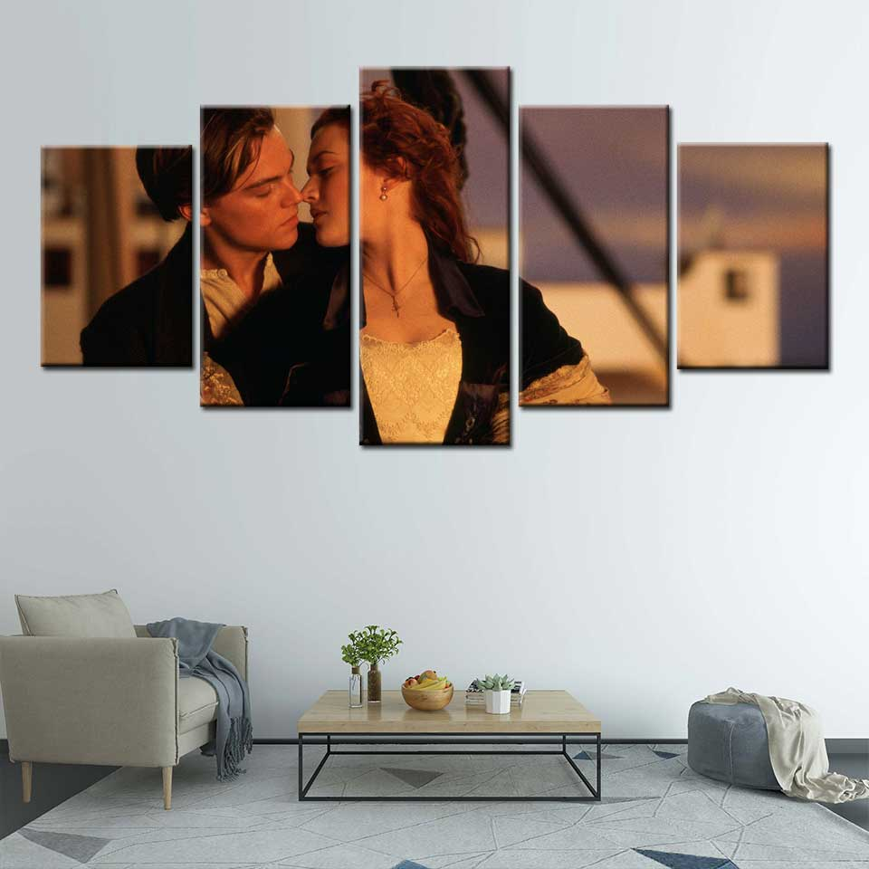 James Cameron Movie <font><b>Leonardo</b></font> <font><b>DiCaprio</b></font> Kate Winslet posters and prints Canvas <font><b>Painting</b></font> Art Wall wall pictures for living room image