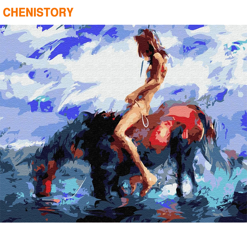 CHENISTORY Framed Horse DIY Painting By Numbers Acrylic Paint Coloring By Numbers Canvas Painting For Home Decors Gift Picture