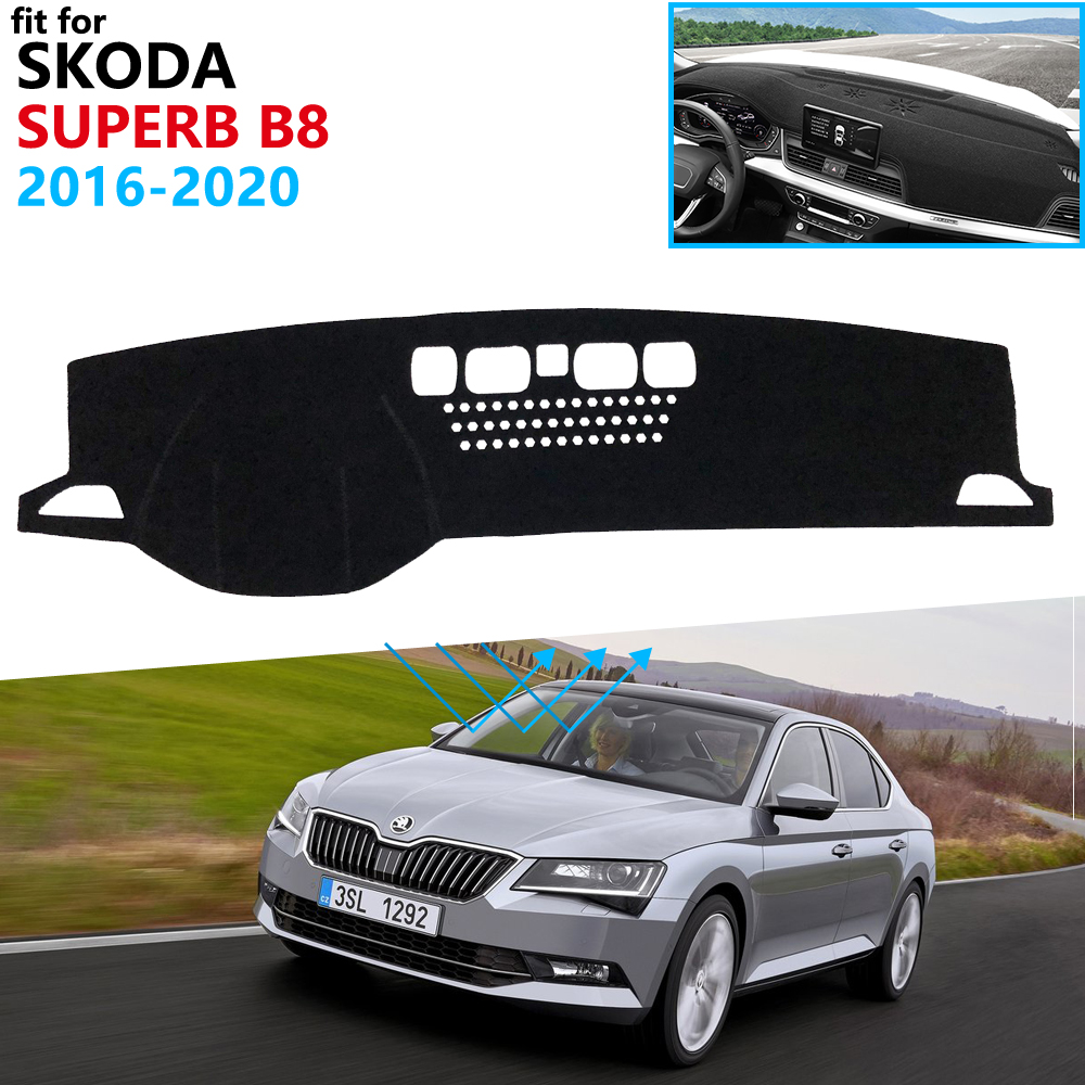 Dashboard Cover Protective Pad For Skoda Superb 3 B8 3V 2016 2017 2018 2019 2020 MK3 Car Accessories Dash Board Sunshade Carpet