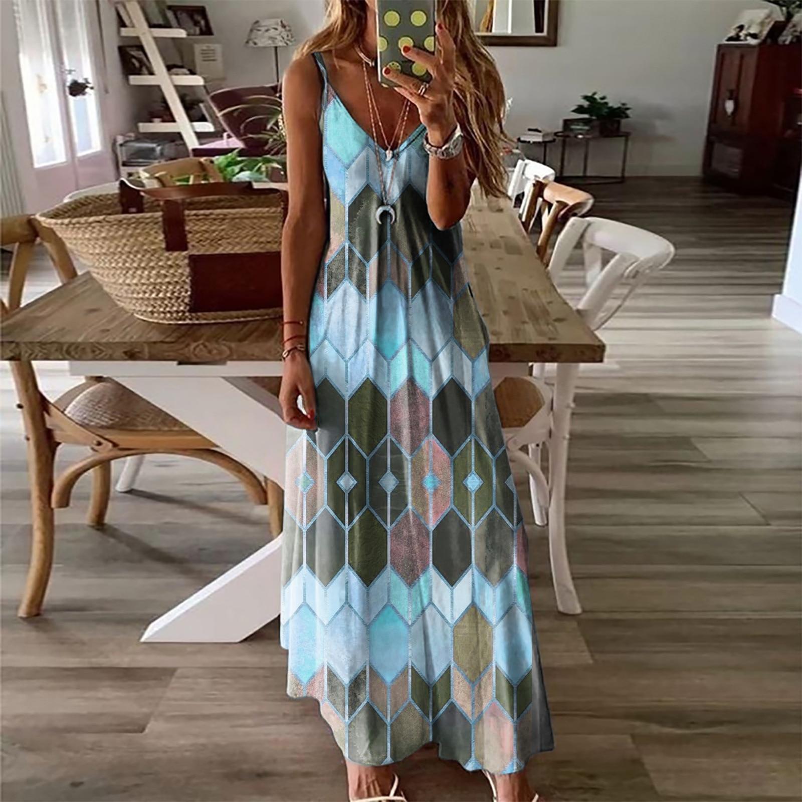 Women's Summer Casual Printed Camisole Long Dress Fashion Sexy Plus Size Dress Bohemian Dress 7