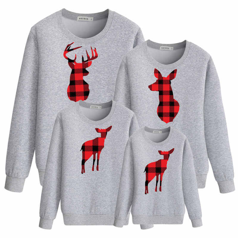 Natal Rusa Fashion Sweatshirt untuk Putri Putri Yang Sesuai dengan Pakaian Mommy dan Saya Pakaian Ayah Anak Pakaian Ayah Ibu Bayi Ibu