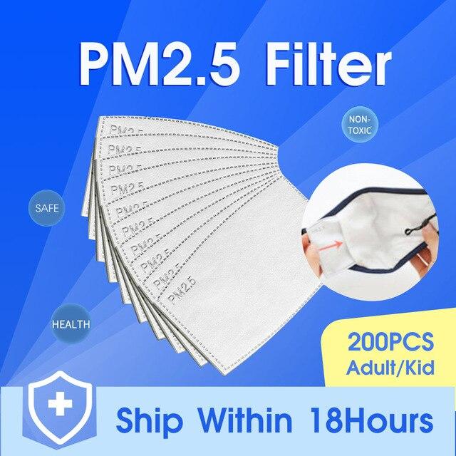 10-200PCS pm2.5 Filter PM25 5 Layer Anti Haze Disposable Mouth Mask Gasket Activated Carbon Valve Masks Washable Filter Mask
