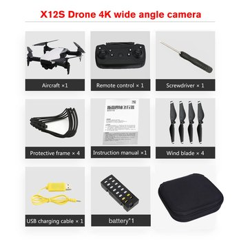 2019 New X12S Drone with 1080P Camera HD HD 4 Axis Optical Flow WiFi FPV Drone RC Plane Altitude Hold RC Helicopter+3.7V 1000mAh