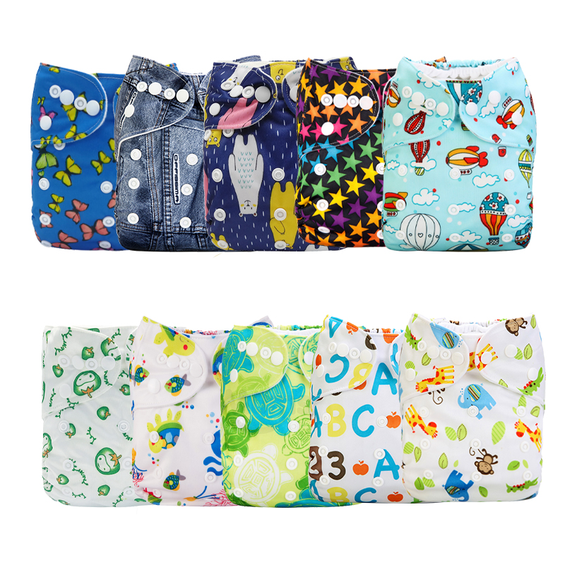 [Mumsbest] 10PCS/Pack Wholesale Price Baby Printed Cloth Diaper Pocket Waterproof &Washable Nappy Cover Sent Random Color