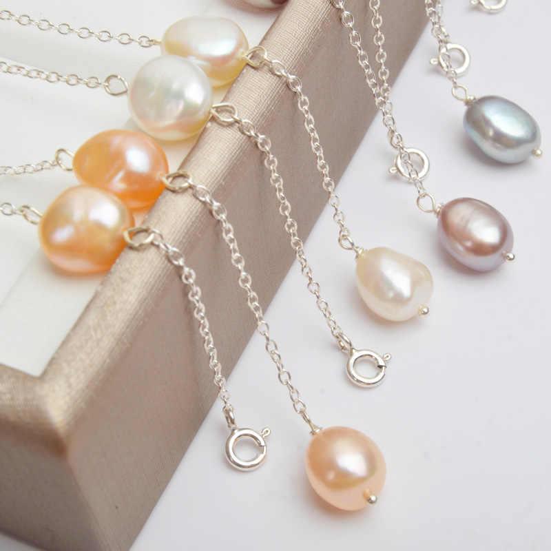Ashiqiリアル925スターリングシルバー淡水真珠のネックレス8-9ミリメートルナチュラルバロック真珠女性のためのヴィンテージハンドメイドジュエリーギフト