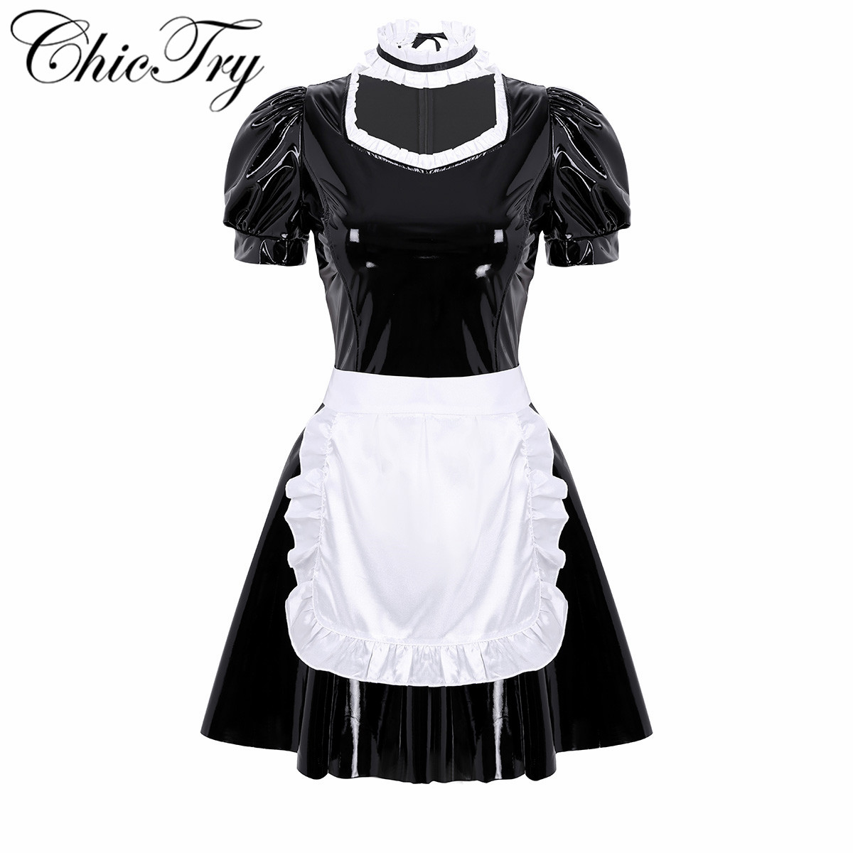 Women Adult French Maid Cosplay Costume Maxi Fancy Dress Apron Headpiece Outfit