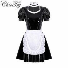 Kobiety dorośli francuska pokojówka przebranie na karnawał strój do odgrywania ról bufiaste rękawy A line sukienka ze skóry lakierowanej z fartuchem i opaską