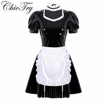 Women Adults French Maid Cosplay Costume Outfit Role Play Puff Sleeve A line Patent Leather Party Dress with Apron and Headband