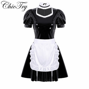 Women Adults French Maid Cosplay Costume Outfit Role Play Puff Sleeve A-line Patent Leather Party Dress with Apron and Headband(China)