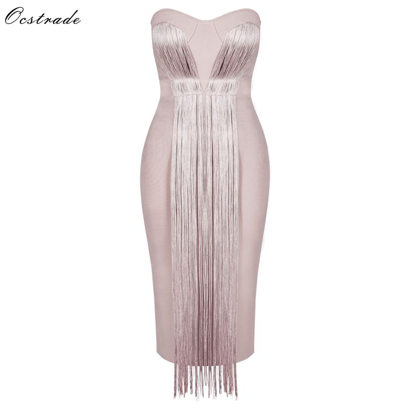 Ocstrade Summer Vestidos Bandage 2020 New Women Midi Bandage Dress Rayon Nude Tassel Fringe Sexy Strapless Bodycon Party Dress