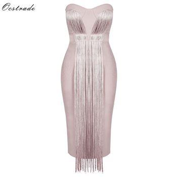Ocstrade Summer Vestidos Bandage 2020 New Women Midi Dress Rayon Nude Tassel Fringe Sexy Strapless Bodycon Party