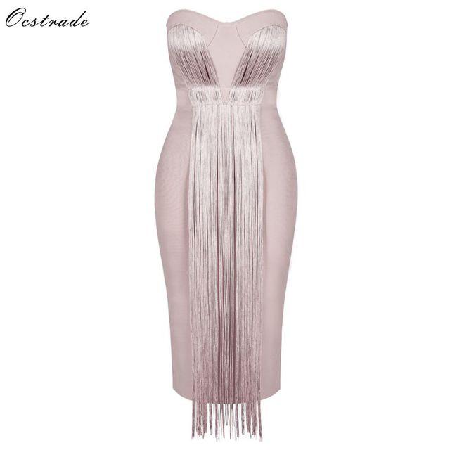 Ocstrade夏vestidos包帯 2020 新しい女性ミディ包帯ドレスレーヨンヌードタッセルフリンジセクシーなストラップレスボディコンパーティードレス