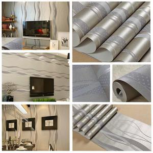 Image 5 - 3D שאינו ארוג פס עקום טפט רול בית תפאורה סלון חדר שינה קיר כיסויי כסף פרחוני יוקרה קיר נייר