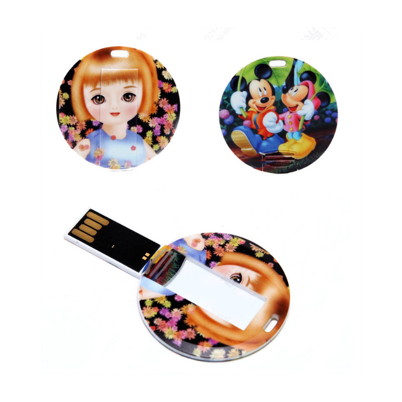 New Custom Logo Plastic Round Card Usb 2.0 Pen Drives 4GB - 32GB Usb Flash Drive Photography Gift (over 10 Pcs Free Logo )