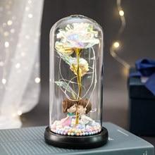 Flor de aluminio dorada de 24K con luces de hadas en cúpula, LED, rosa de galaxia encantada, regalo de San Valentín para Navidad, 2021