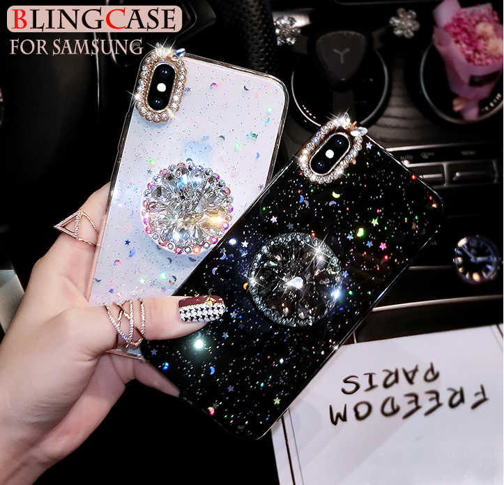 For Samsung Galaxy S10 S9 S8 Plus Note 8 9 A7 A9 A9s A6 Plus 2018 A60 A70 A80 Glitter Diamond Cover Stand Holder Soft Phone Case