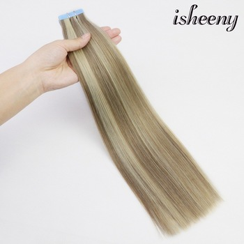 """isheeny Tape In Remy Human Hair Adhesive Extension 18"""" 20pcs 4 Colors Straight Skin Weft Natural Hair 2.5g Piano Color"""
