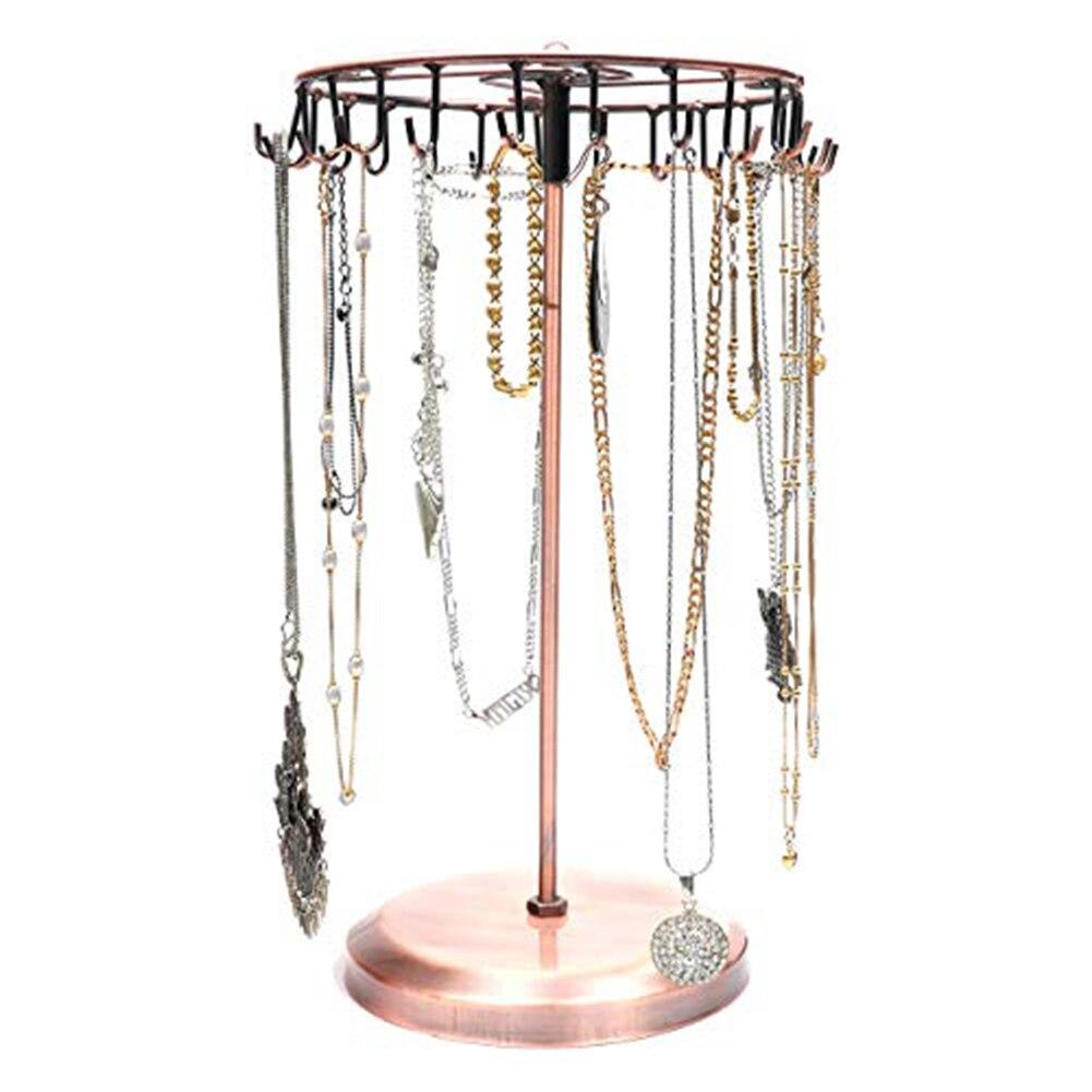 23 Hooks Metal Earrings Holder Rotating Necklace Display Rack Pendant Bracelet Stand Jewelry Rack Storage Necklace/Rings/Earring