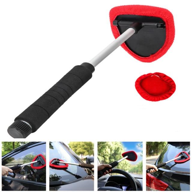 車のガラスクリーナーブラシワイパー伸縮ハンドル自動窓ガラスワッシャーソフトタオルブラシカーケアクリーニングツール