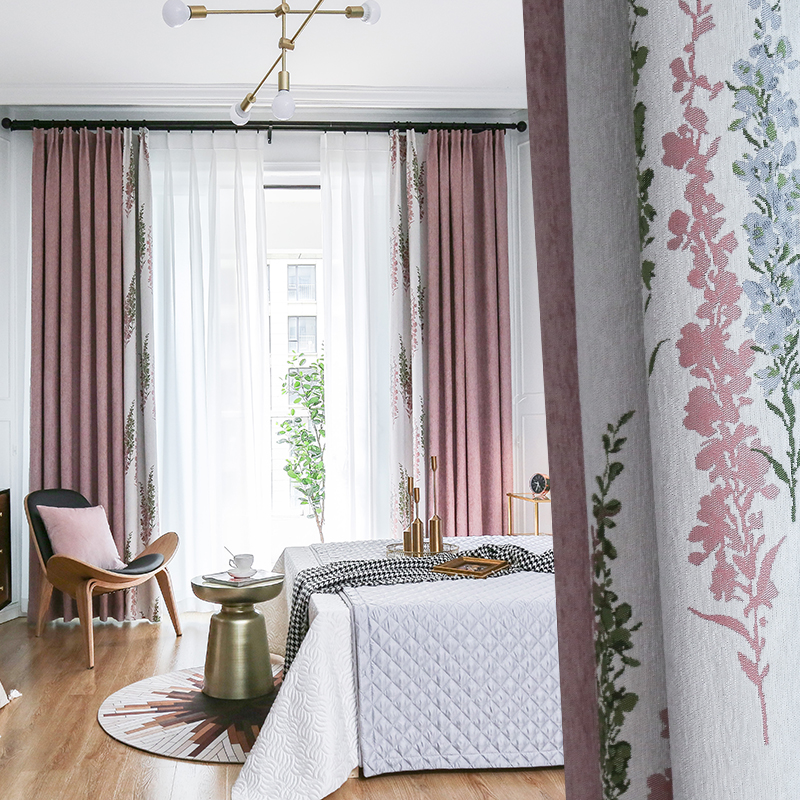 Cortinas personalizadas densamente chenille rosa lavanda correspondência jacquard sala de estar quarto pano blackout cortina tule m786