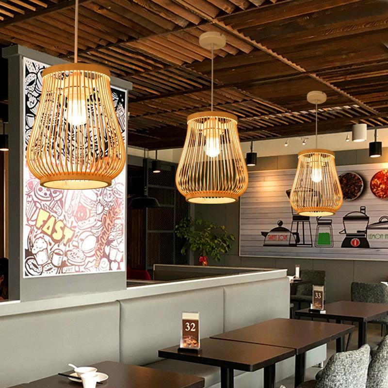 Cinese di Bambù Lampade a sospensione Creativo di Legno Vintage Complementi Arredo Casa Cucina Lustro Lampade a sospensione Ristorante Loft Appendere Le Luci - 6