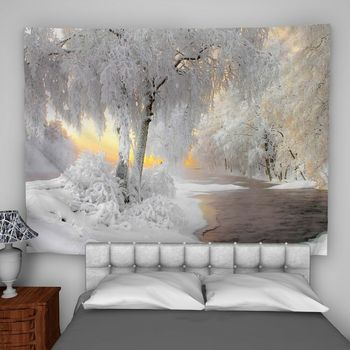 Snow Forest Wall Art Tapestry Custom Bedroom Home Decoration