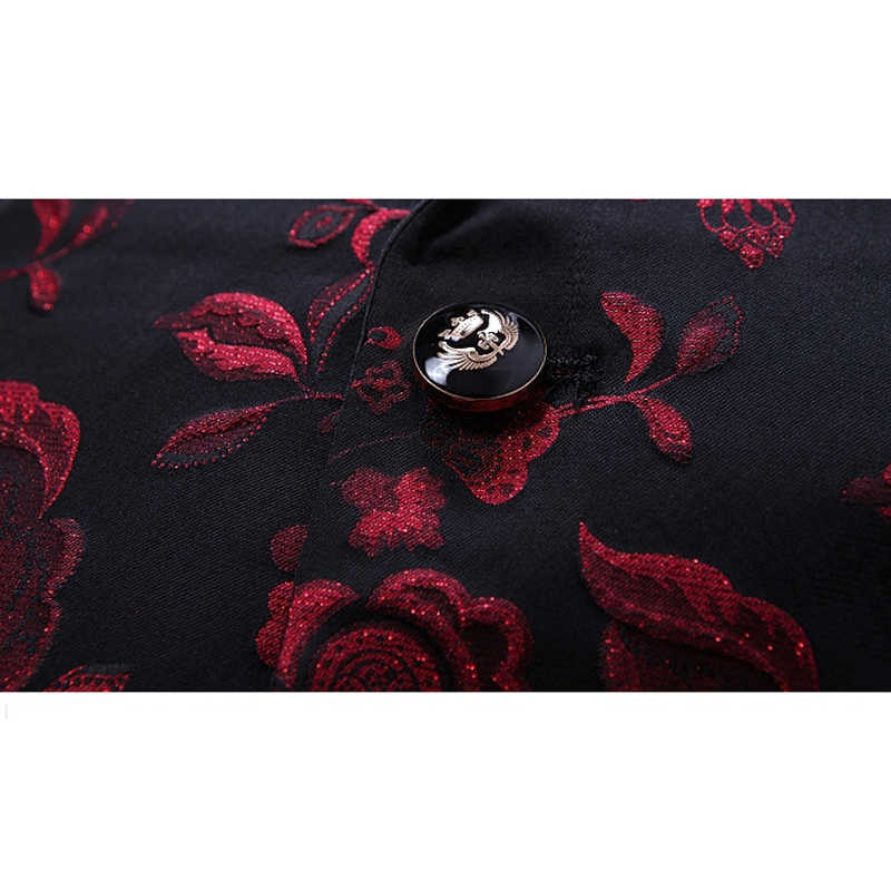 Shenrun 秋冬メンズブレザー高品質ジャカード刺繍新郎タキシードジャケット歌手パーティーウエディング男性ステージ衣装