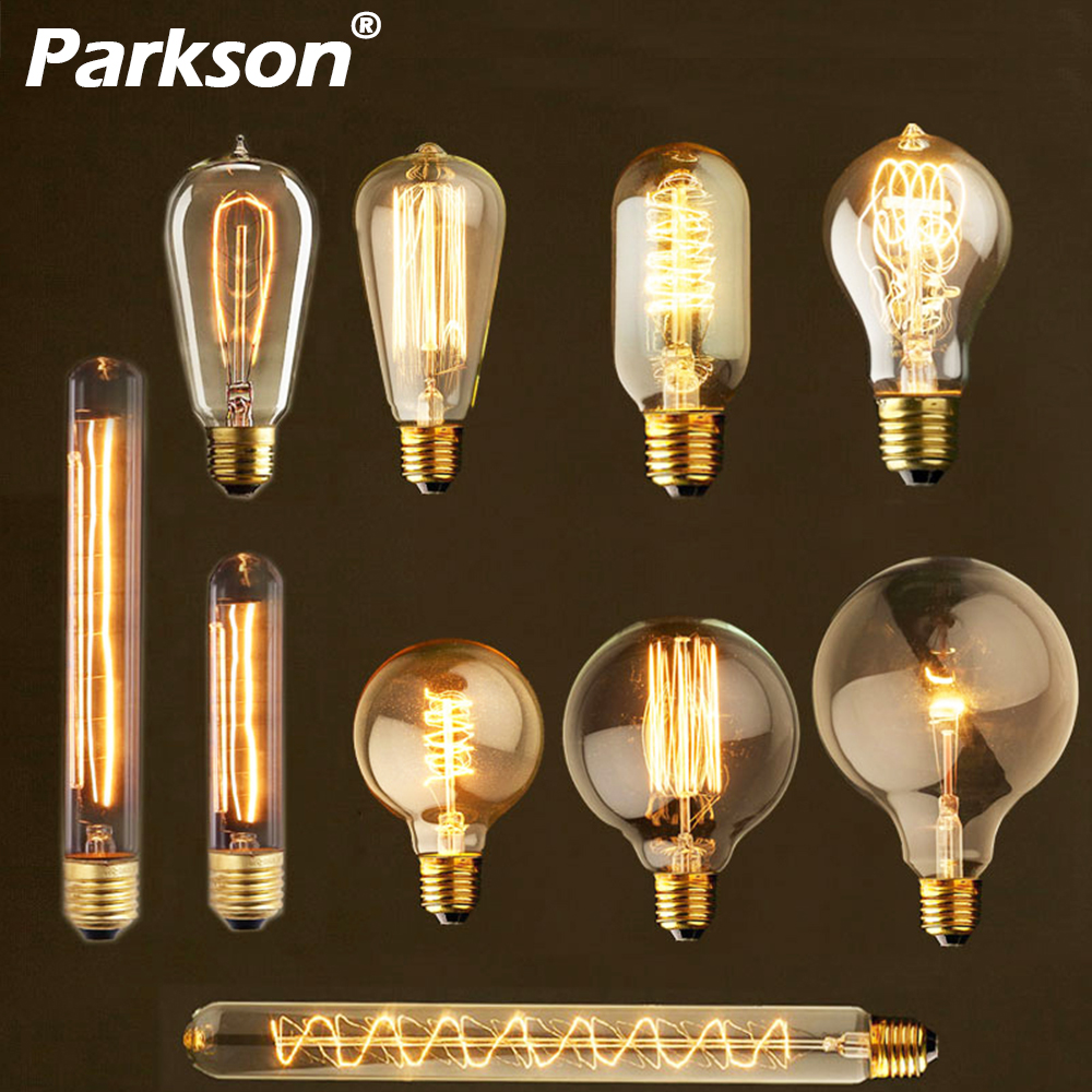Retro Vintage Edison Light Bulb E27 40W 220V T45 T10 ST64 G80 G95 G125 Incandescent Filament Bulb Edison Lamp For Home Decor