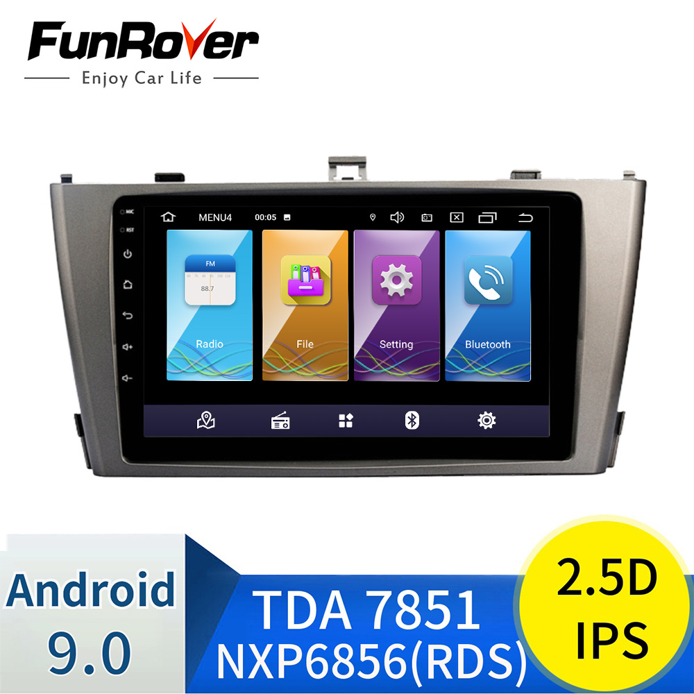 FUNROVER 2.5D+IPS <font><b>Android</b></font> 9.0 Car Radio GPS Multimedia Stereo DVD Player For <font><b>Toyota</b></font> Avensis <font><b>T25</b></font> 2009-2013 Auto Audio WIFI Video image