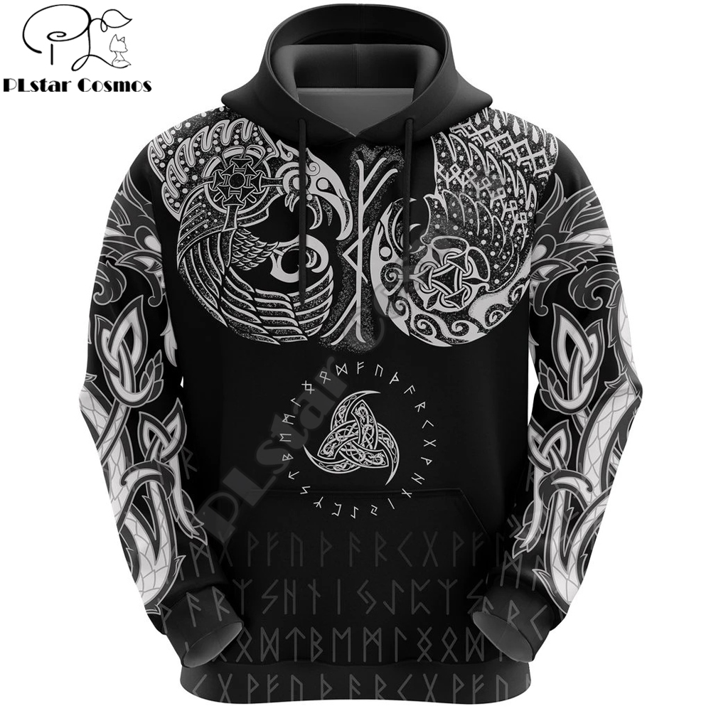 Viking Symbol Odin Tattoo All-Over Print 3D Hoodie And Sweatshirt Harajuku Fashion Hoodies Unisex Casual Jacket Pullover DW0024