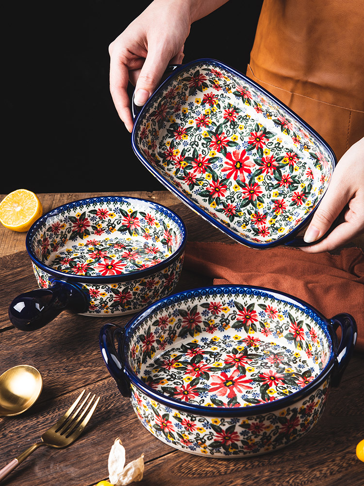 Retro Ceramic Handle Salad Bowl Household Oven Breakfast Bake Pan Microwave Bohemia Binaural Soup Bowl In-glaze Tableware