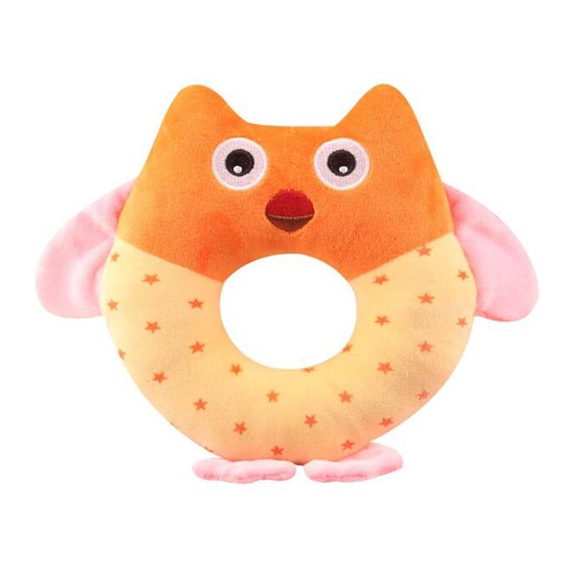 Owl Shape Baby Handbell Toy Cartoon Animal Hanging Ring Rattle Hand Bell Baby Child Plush Toy Children Gift