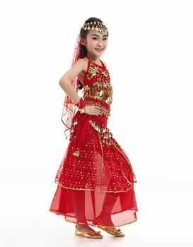 disfraces de danza vientre niños danza del vientre niñas Bollywood indio actuación paño conjunto hecho a mano chica India ropa antona traversi camillo danza macàbra