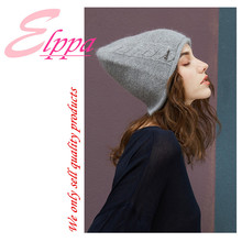 Women new striped solid knitting hat lady winter outdoor keep warm colorfast anti-pilling soft rabbit hair fashion knitting hat striped rib knitting warm beanie hat